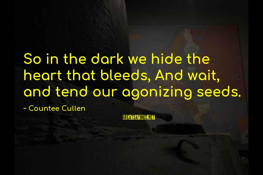 Heart Bleeds For You Sayings By Countee Cullen: So in the dark we hide the heart that bleeds, And wait, and tend our