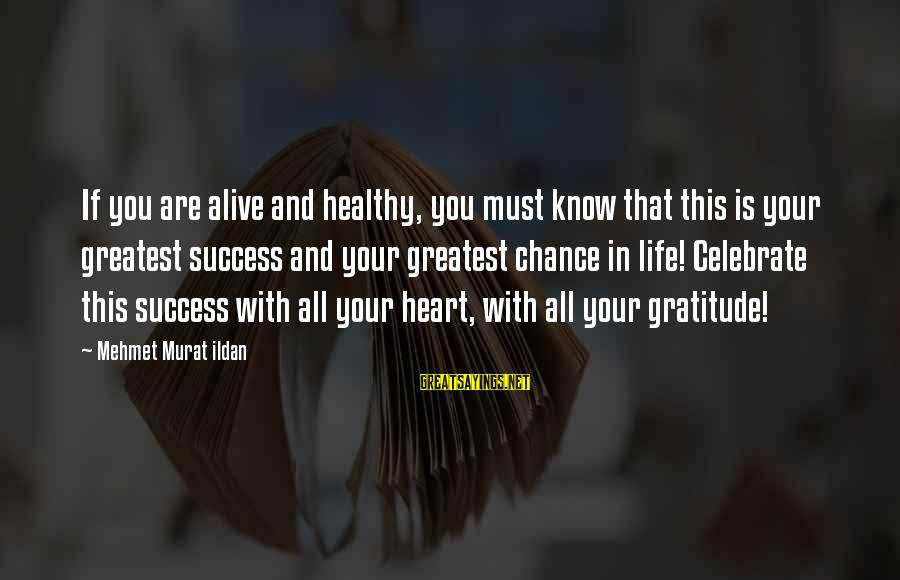 Heart Healthy Sayings By Mehmet Murat Ildan: If you are alive and healthy, you must know that this is your greatest success