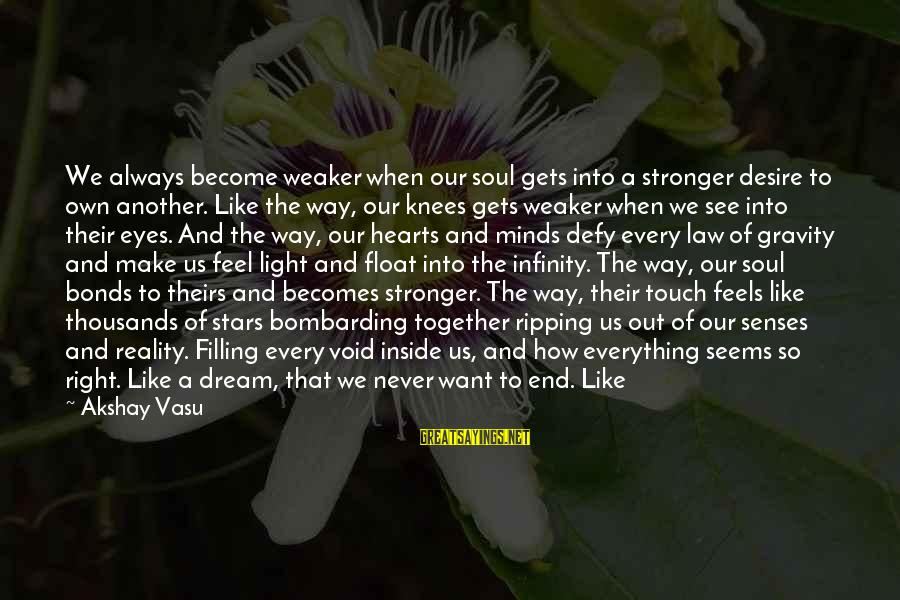 Heart Ripping Sayings By Akshay Vasu: We always become weaker when our soul gets into a stronger desire to own another.