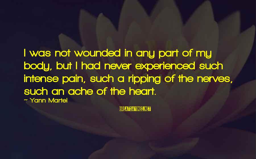 Heart Ripping Sayings By Yann Martel: I was not wounded in any part of my body, but I had never experienced
