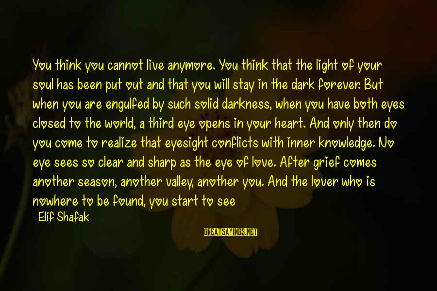 Heart Throbbing Sayings By Elif Shafak: You think you cannot live anymore. You think that the light of your soul has