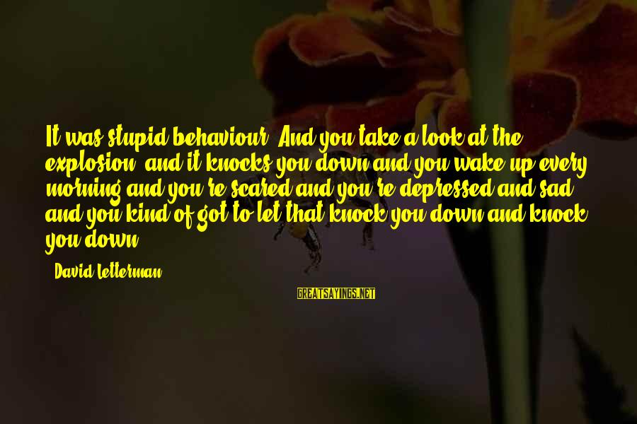 Heartbroken Woman Sayings By David Letterman: It was stupid behaviour. And you take a look at the explosion, and it knocks