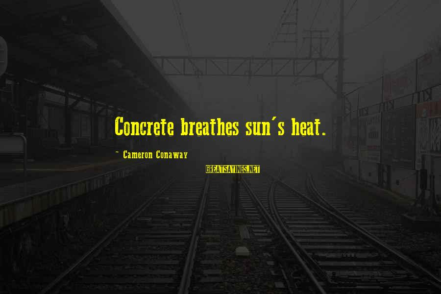 Heat Sayings By Cameron Conaway: Concrete breathes sun's heat.
