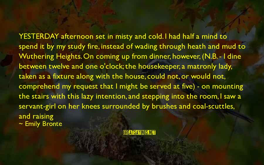 Heathcliff's Sayings By Emily Bronte: YESTERDAY afternoon set in misty and cold. I had half a mind to spend it