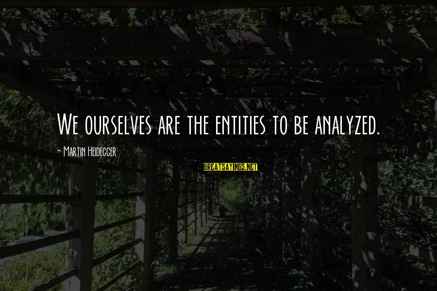 Heidegger Sayings By Martin Heidegger: We ourselves are the entities to be analyzed.