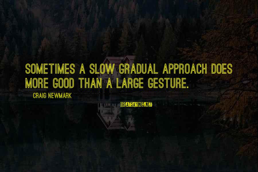 Helen Zille Sayings By Craig Newmark: Sometimes a slow gradual approach does more good than a large gesture.
