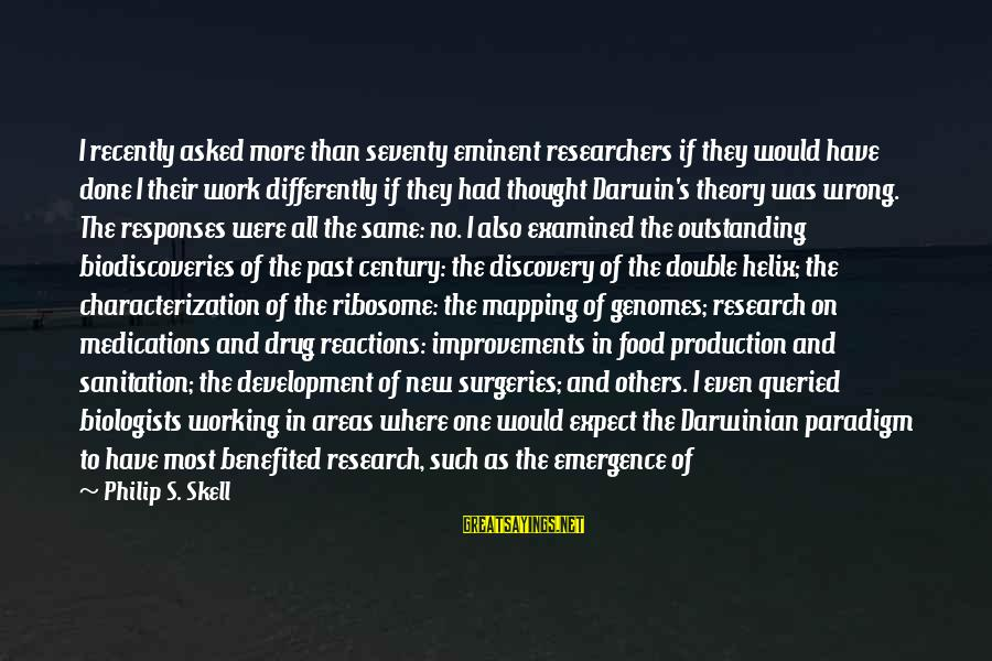 Helix Sayings By Philip S. Skell: I recently asked more than seventy eminent researchers if they would have done I their