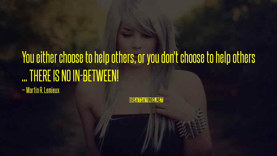 Helping To Others Sayings By Martin R. Lemieux: You either choose to help others, or you don't choose to help others ... THERE