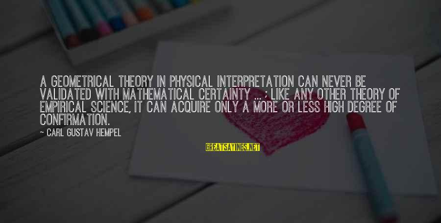 Hempel Sayings By Carl Gustav Hempel: A geometrical theory in physical interpretation can never be validated with mathematical certainty ... ;