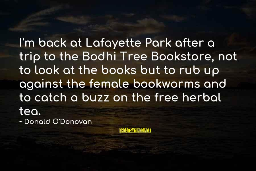 Herbal Tea Sayings By Donald O'Donovan: I'm back at Lafayette Park after a trip to the Bodhi Tree Bookstore, not to