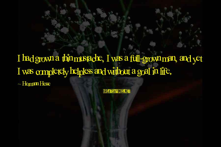Hesse Sayings By Hermann Hesse: I had grown a thin mustache, I was a full-grown man, and yet I was