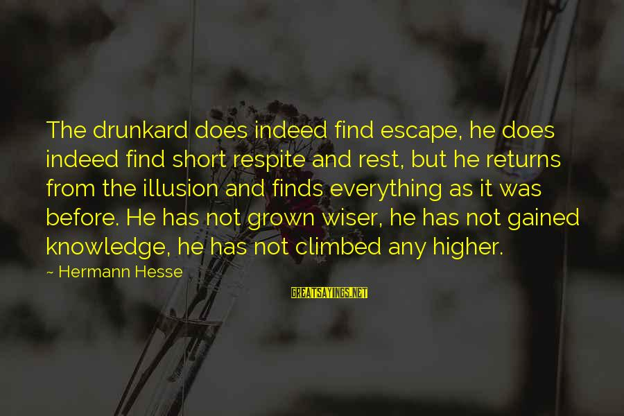 Hesse Sayings By Hermann Hesse: The drunkard does indeed find escape, he does indeed find short respite and rest, but