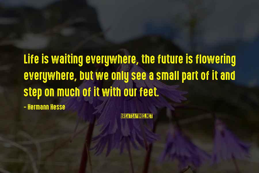 Hesse Sayings By Hermann Hesse: Life is waiting everywhere, the future is flowering everywhere, but we only see a small