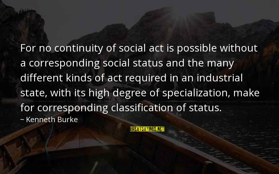 High Social Status Sayings By Kenneth Burke: For no continuity of social act is possible without a corresponding social status and the