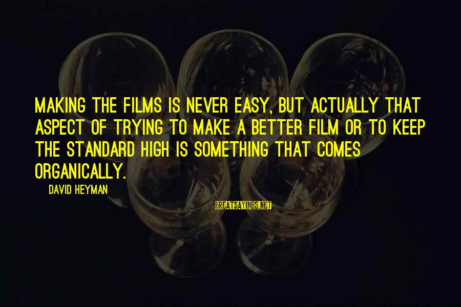High Standard Sayings By David Heyman: Making the films is never easy, but actually that aspect of trying to make a
