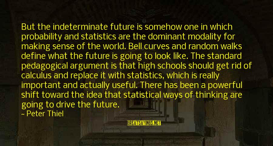 High Standard Sayings By Peter Thiel: But the indeterminate future is somehow one in which probability and statistics are the dominant