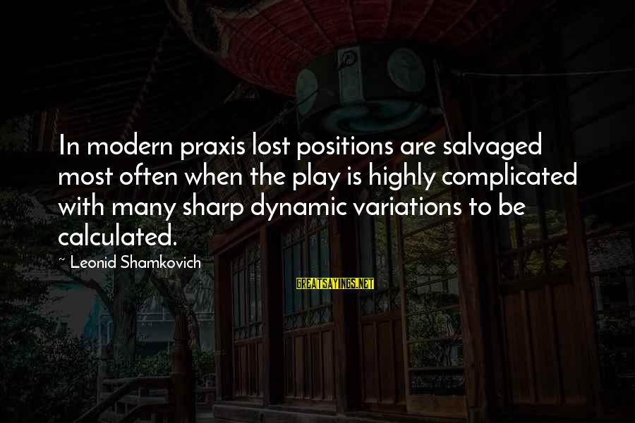 Highly Sayings By Leonid Shamkovich: In modern praxis lost positions are salvaged most often when the play is highly complicated