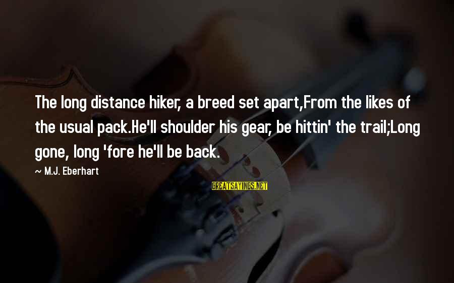 Hiker Best Sayings By M.J. Eberhart: The long distance hiker, a breed set apart,From the likes of the usual pack.He'll shoulder