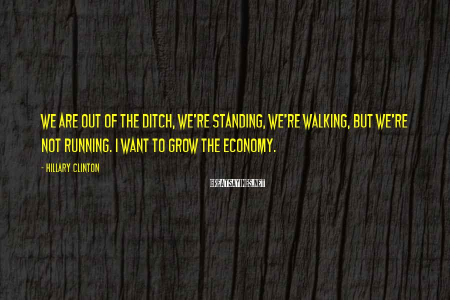 Hillary Clinton Sayings: We are out of the ditch, we're standing, we're walking, but we're not running. I