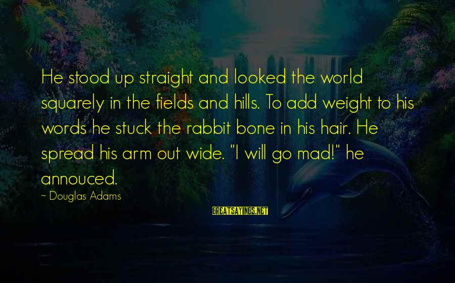 Hills In Life Sayings By Douglas Adams: He stood up straight and looked the world squarely in the fields and hills. To