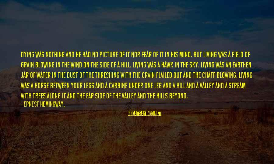 Hills In Life Sayings By Ernest Hemingway,: Dying was nothing and he had no picture of it nor fear of it in