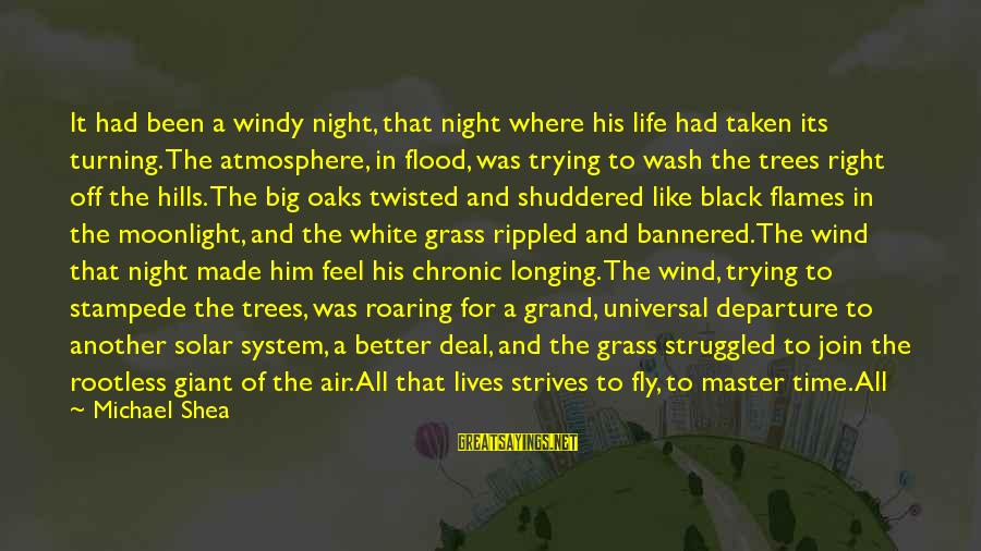 Hills In Life Sayings By Michael Shea: It had been a windy night, that night where his life had taken its turning.