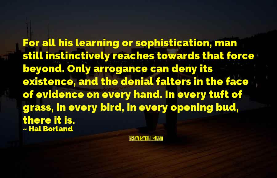 His Hands Sayings By Hal Borland: For all his learning or sophistication, man still instinctively reaches towards that force beyond. Only