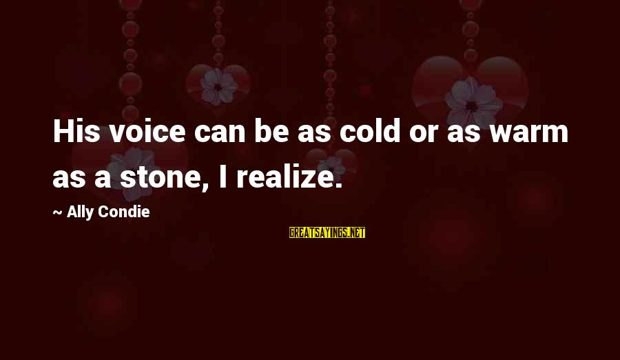 His Voice Sayings By Ally Condie: His voice can be as cold or as warm as a stone, I realize.