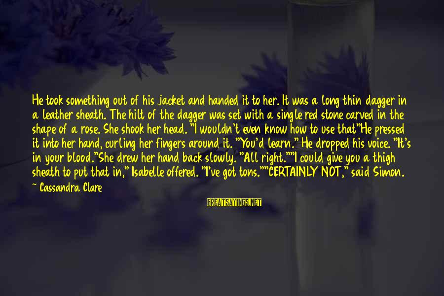 His Voice Sayings By Cassandra Clare: He took something out of his jacket and handed it to her. It was a