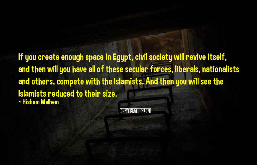 Hisham Melhem Sayings: If you create enough space in Egypt, civil society will revive itself, and then will