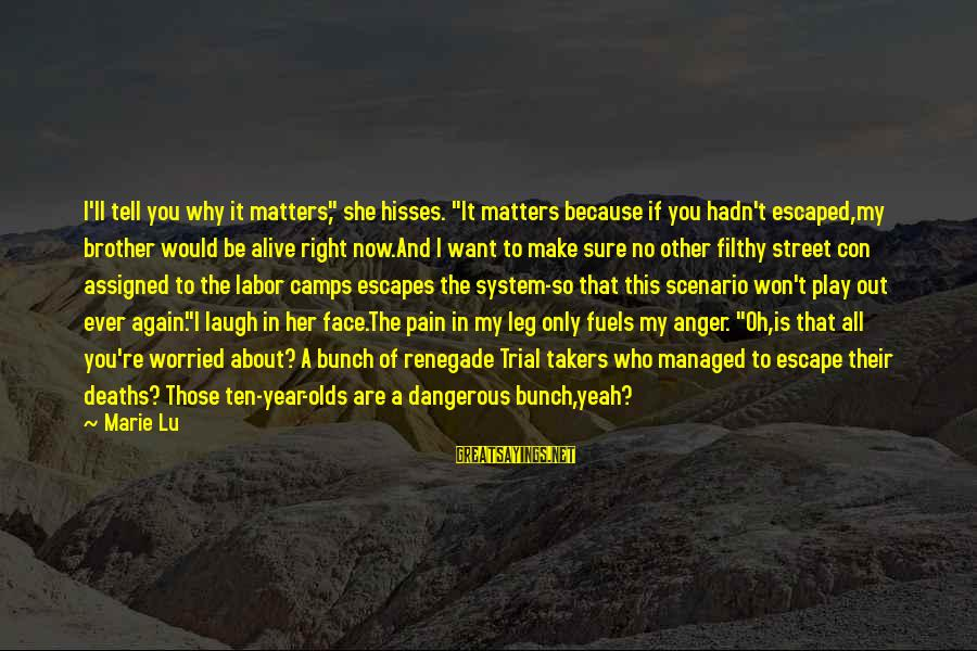 """Hisses Sayings By Marie Lu: I'll tell you why it matters,"""" she hisses. """"It matters because if you hadn't escaped,my"""