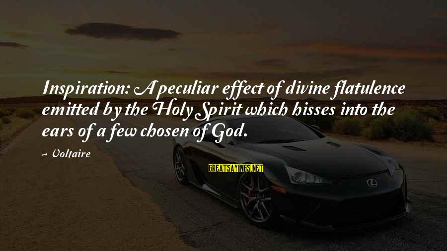 Hisses Sayings By Voltaire: Inspiration: A peculiar effect of divine flatulence emitted by the Holy Spirit which hisses into