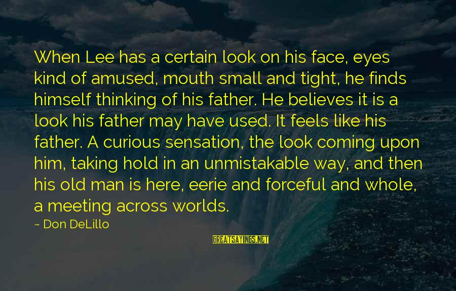 Hold Him Tight Sayings By Don DeLillo: When Lee has a certain look on his face, eyes kind of amused, mouth small