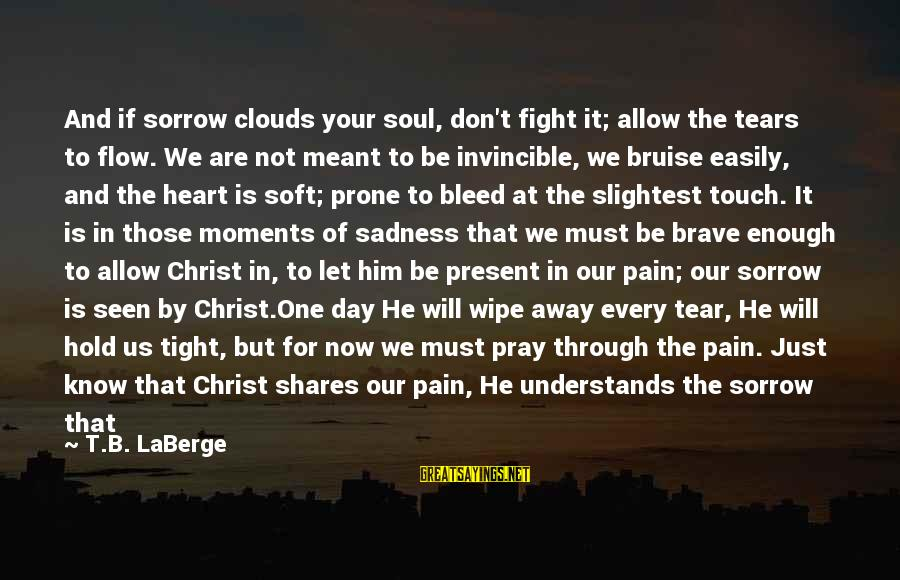Hold Him Tight Sayings By T.B. LaBerge: And if sorrow clouds your soul, don't fight it; allow the tears to flow. We