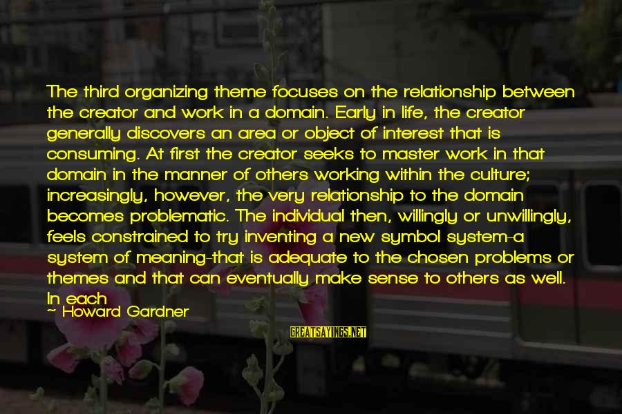 Hold On Relationship Sayings By Howard Gardner: The third organizing theme focuses on the relationship between the creator and work in a