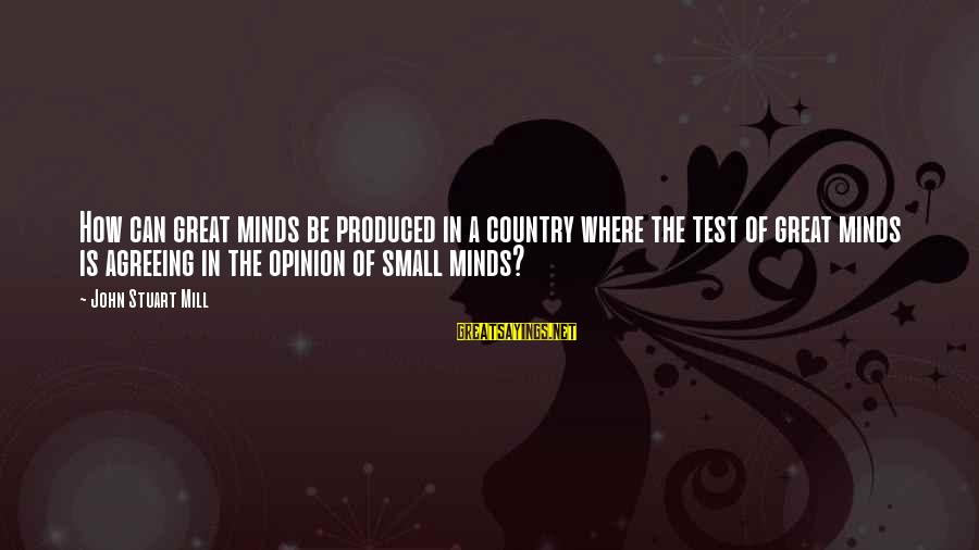 Holding Leaders Accountable Sayings By John Stuart Mill: How can great minds be produced in a country where the test of great minds