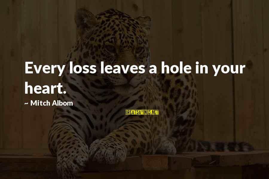 Hole In Your Heart Sayings By Mitch Albom: Every loss leaves a hole in your heart.