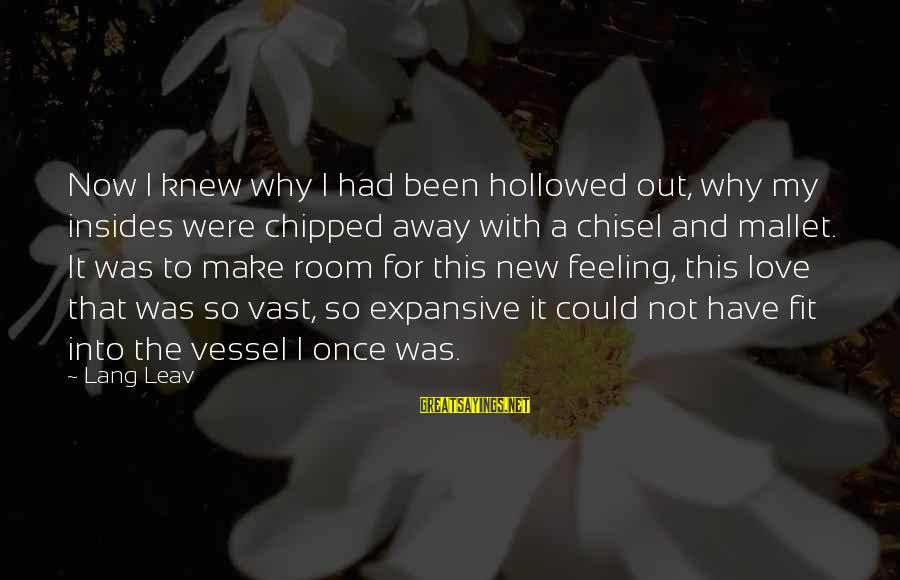 Hollowed Sayings By Lang Leav: Now I knew why I had been hollowed out, why my insides were chipped away