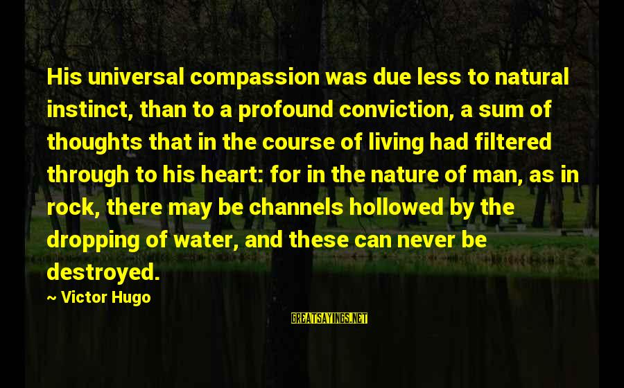 Hollowed Sayings By Victor Hugo: His universal compassion was due less to natural instinct, than to a profound conviction, a