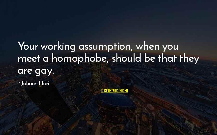 Homophobia Sayings By Johann Hari: Your working assumption, when you meet a homophobe, should be that they are gay.