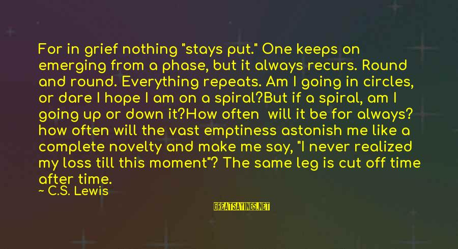 "Hope Keeps Us Going Sayings By C.S. Lewis: For in grief nothing ""stays put."" One keeps on emerging from a phase, but it"