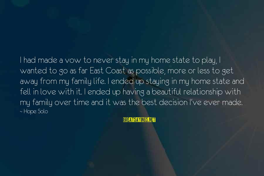 Hope Solo's Sayings By Hope Solo: I had made a vow to never stay in my home state to play, I