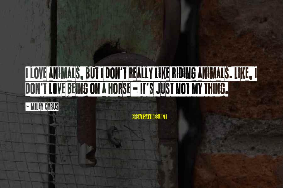 Horse Love Sayings By Miley Cyrus: I love animals, but I don't really like riding animals. Like, I don't love being