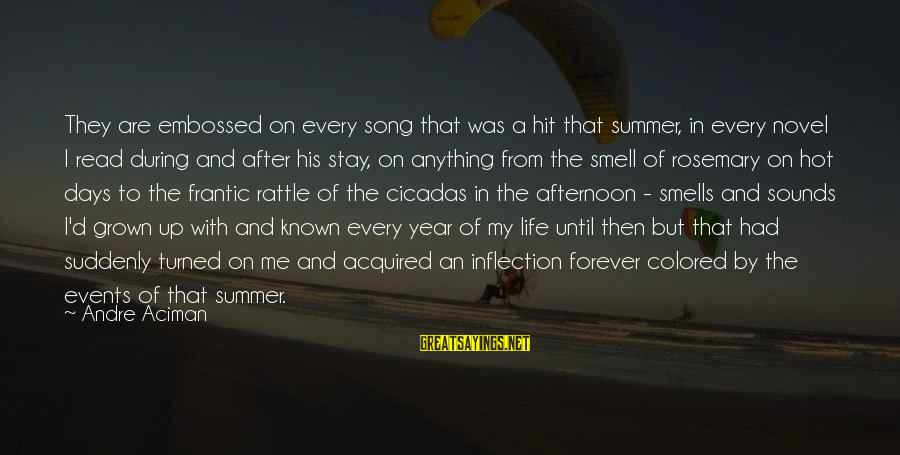 Hot Summer Afternoon Sayings By Andre Aciman: They are embossed on every song that was a hit that summer, in every novel