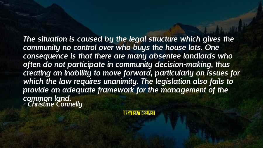House Move Sayings By Christine Connelly: The situation is caused by the legal structure which gives the community no control over