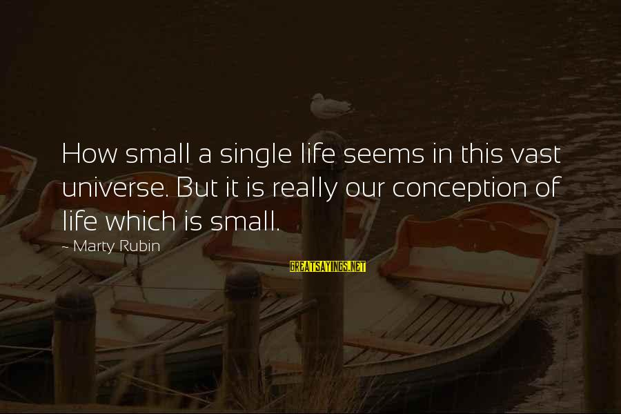 How Small We Are In The Universe Sayings By Marty Rubin: How small a single life seems in this vast universe. But it is really our