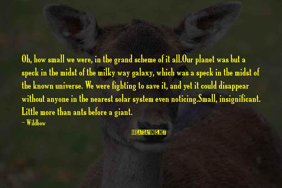 How Small We Are In The Universe Sayings By Wildbow: Oh, how small we were, in the grand scheme of it all.Our planet was but