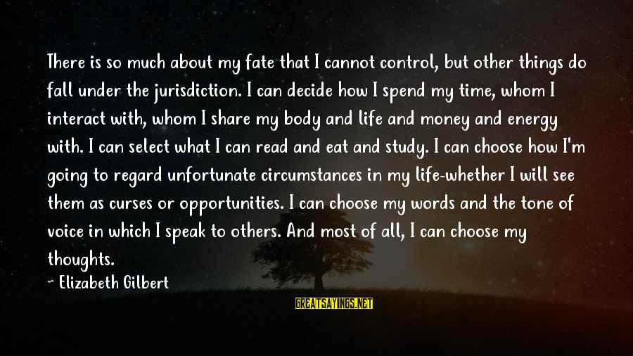 How To Spend Money Sayings By Elizabeth Gilbert: There is so much about my fate that I cannot control, but other things do