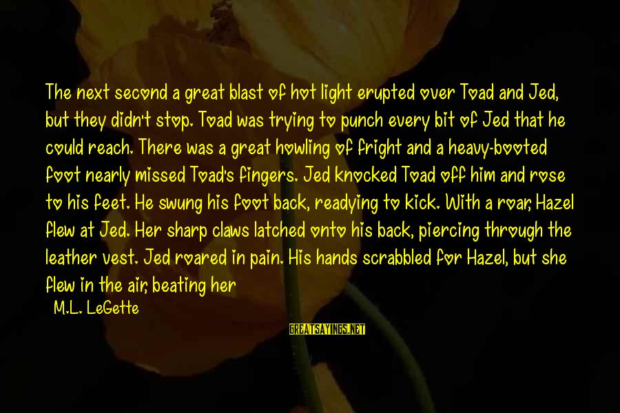 Howling Sayings By M.L. LeGette: The next second a great blast of hot light erupted over Toad and Jed, but