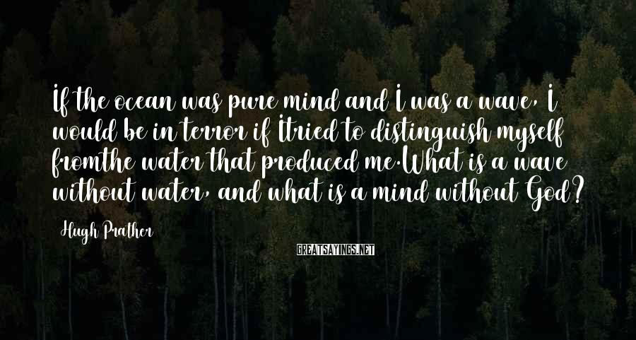 Hugh Prather Sayings: If the ocean was pure mind and I was a wave, I would be in